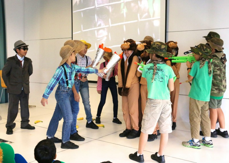 Students at Kuo Chuan Presbyterian Primary School raise awareness of social issues through drama, which is the focus of the school's Applied Learning Programme.